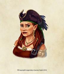 pirate half elf portrait by Kaek