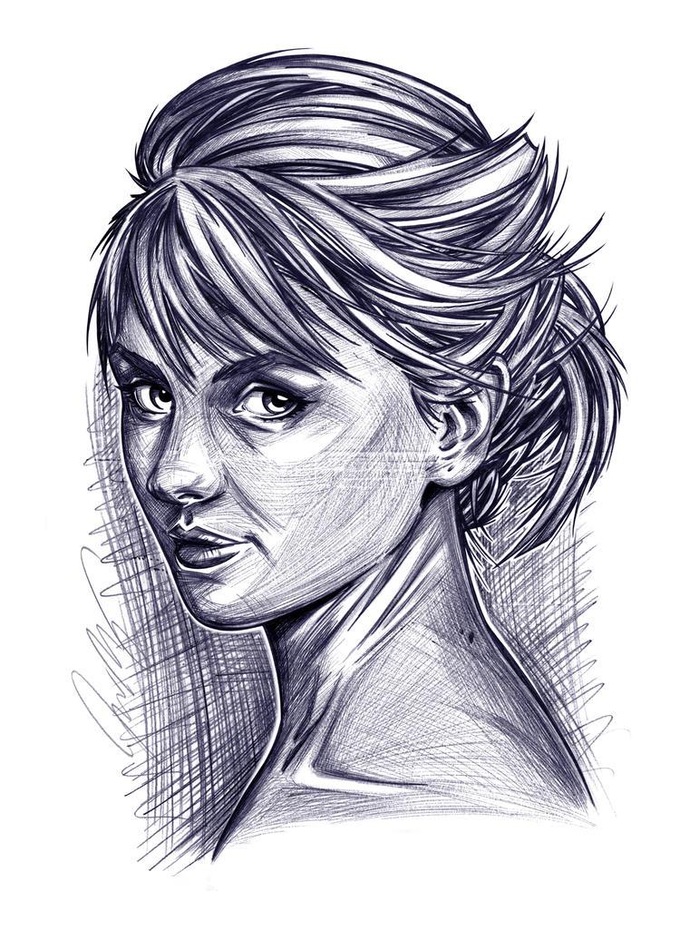 Rachel - A Ballpoint Pen Portrait by Jon-Moss