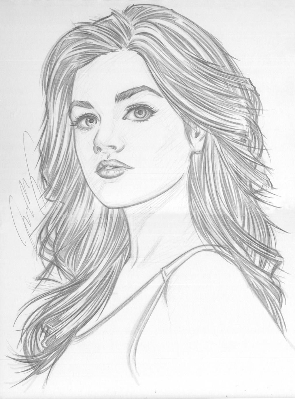 Line Art Picsart : Lucy hale portrait wip by jon moss on deviantart
