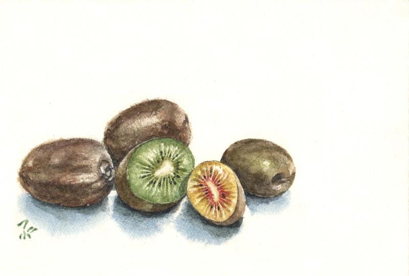 Kiwifruits -red and green- by blacktsubu