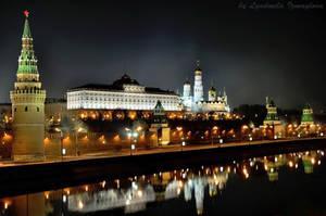 Kremlin Embankment at night by Lyutik966