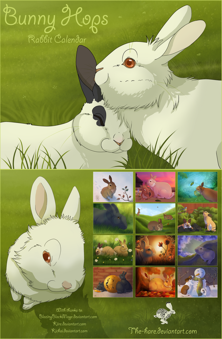 Bunny Hops- Rabbit Calendar- Now Available! by The-Hare