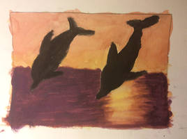 Dolphins in the sunset watercolor by TheRunningRunner