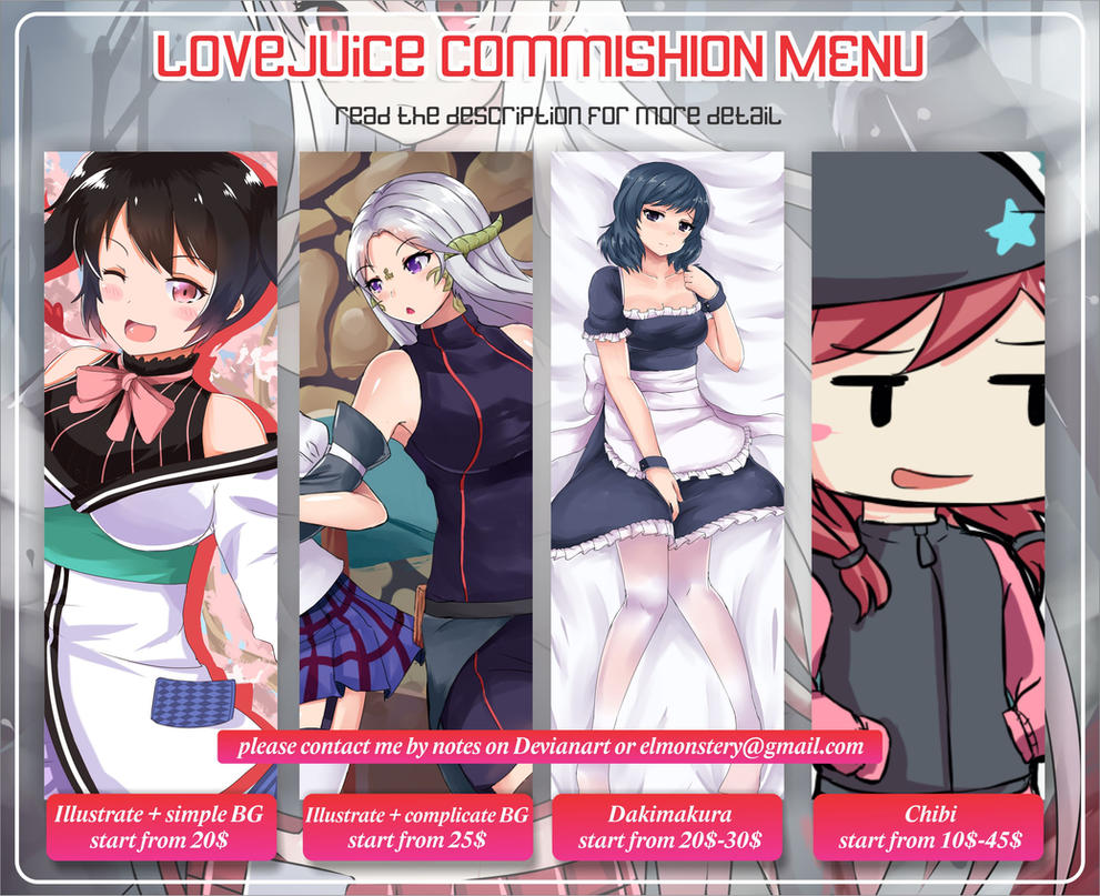 Commishion Menu by LoveJuiceP