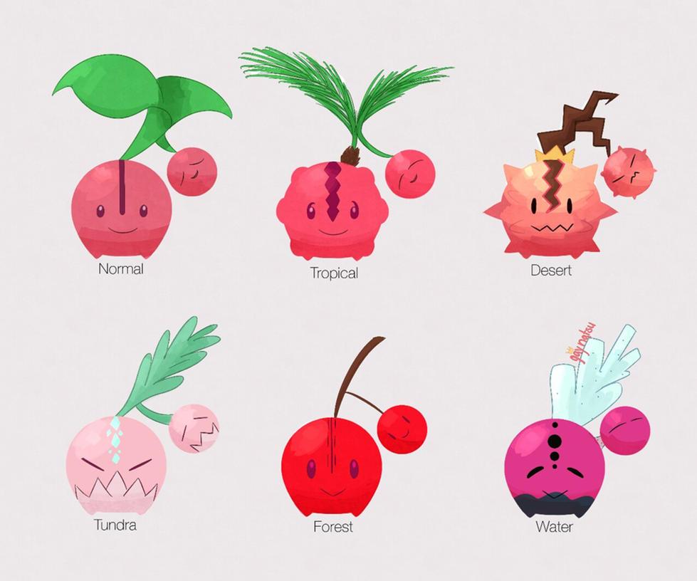 Cherubi Pokemon Variations by LaCandida