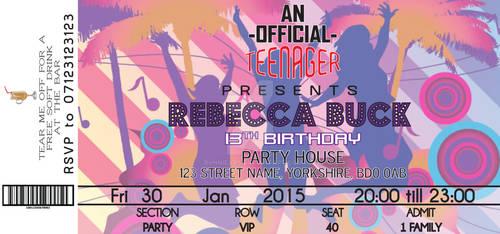 Birthday Concert Ticket Invitations