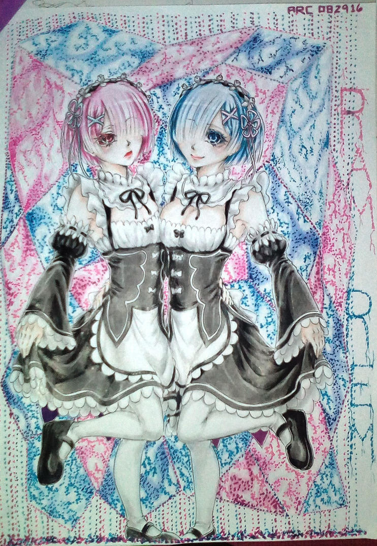 Ram and Rem - Abstract by redichiyami