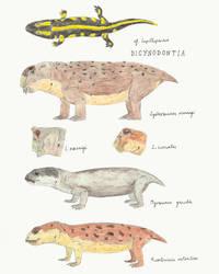 Lower Fremouw: Temnospondyls (II) and Dicynodonts by DiegoOA