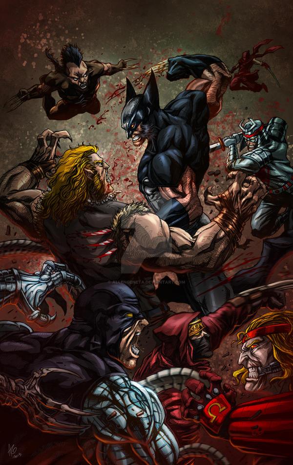 Wolverine battle royale in color by allengeneta
