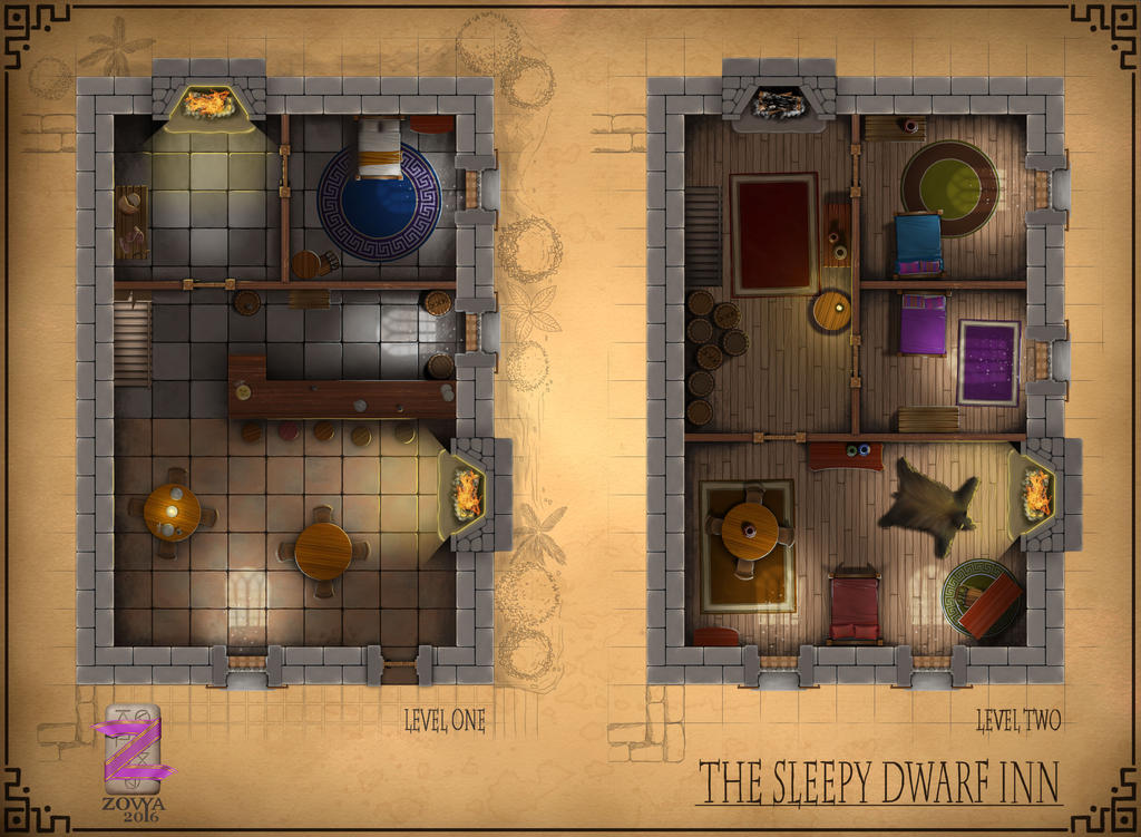 Rpg Map The Sleepy Dwarf Inn By Zovya On Deviantart
