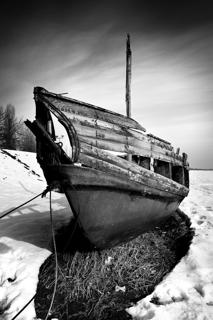 Old Boat In The Snow by slatkatajna