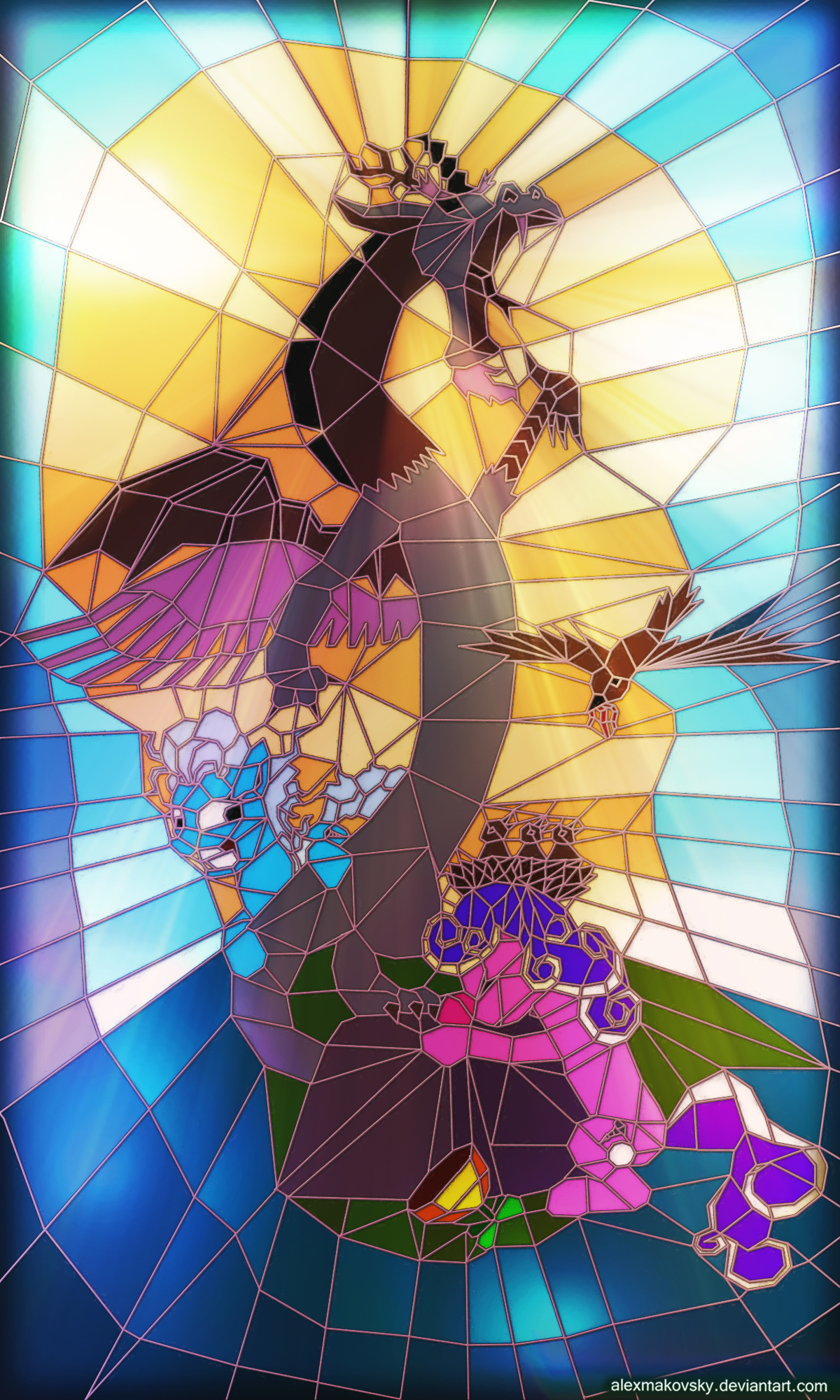 Stained glass window with Discord n Screwball