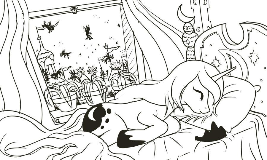 Раскраска с принцессой луной