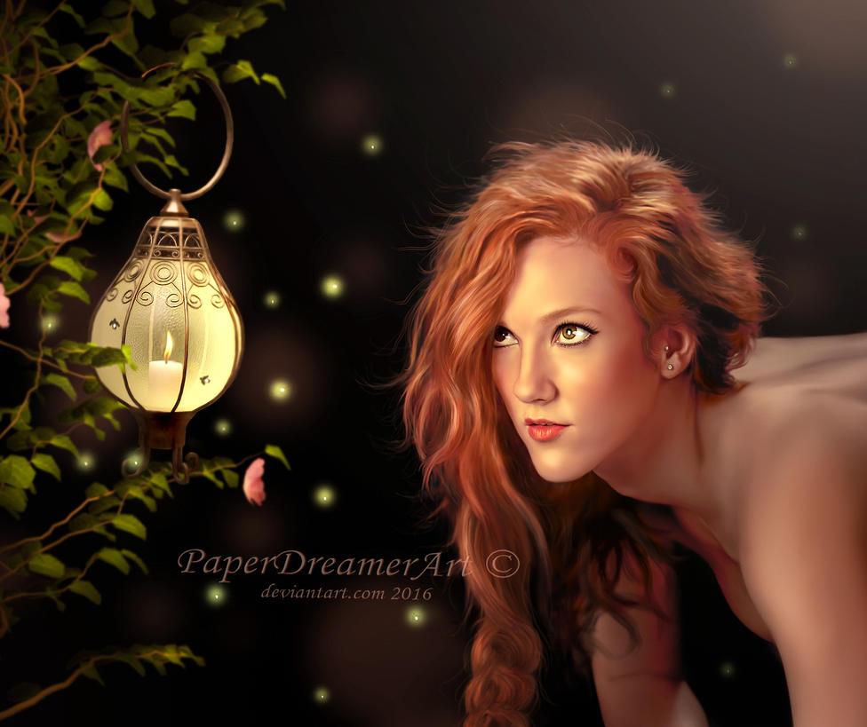 A Midsummer's Night (closeup) by PaperDreamerArt