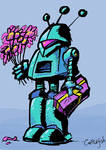 Lovesick Robot with Flowers