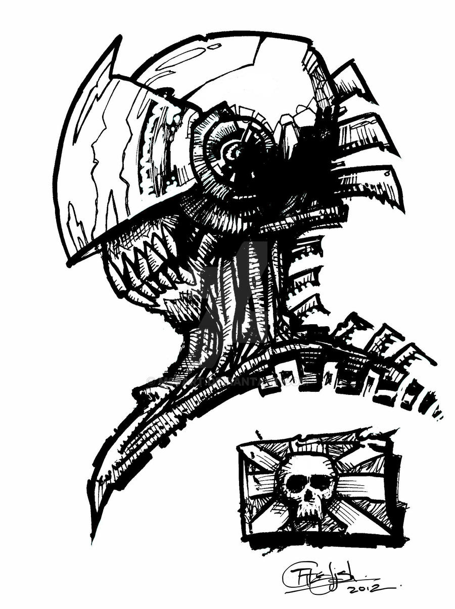 Space Zombie Sketch by m99art