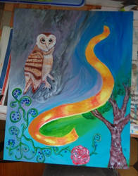 The Owl (Painting) by adrasteia1
