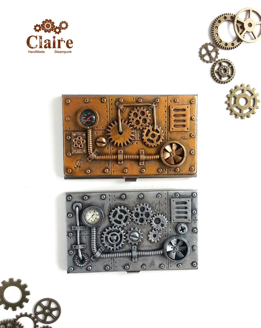 Steampunk business card holder by clairesteampunk on for Steampunk business card holder