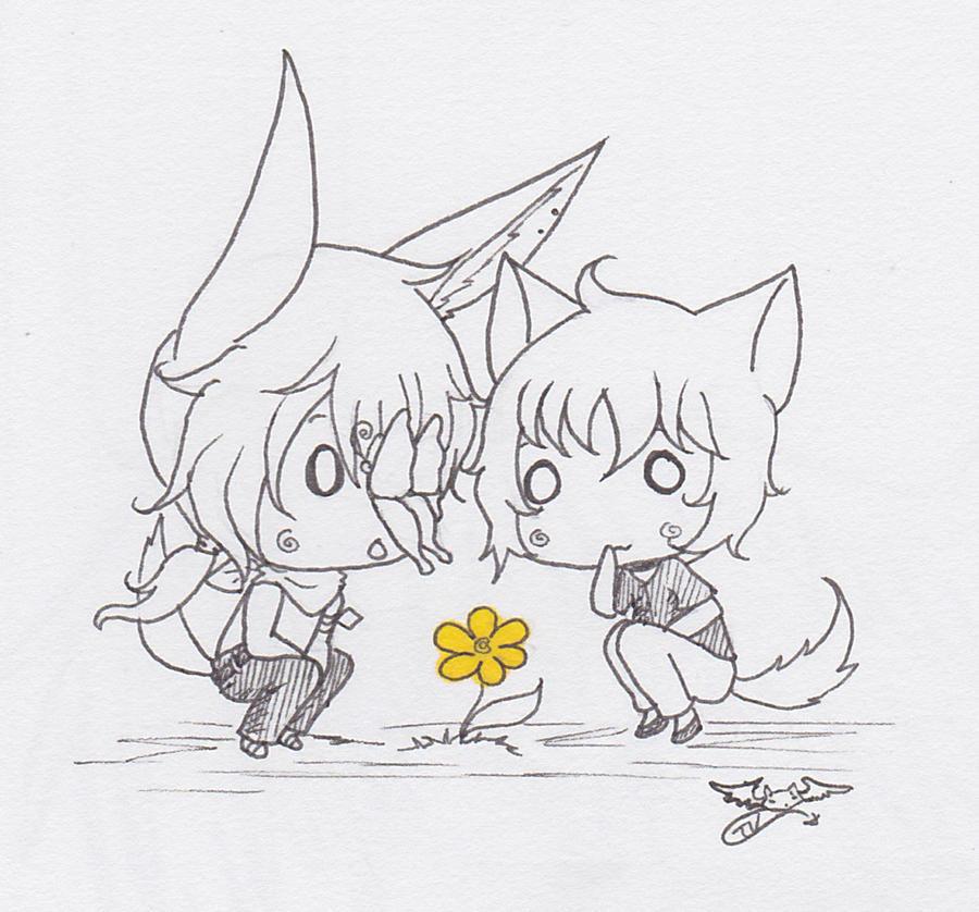 Terra+Kiyo -Butterfly by inkblot-wolf