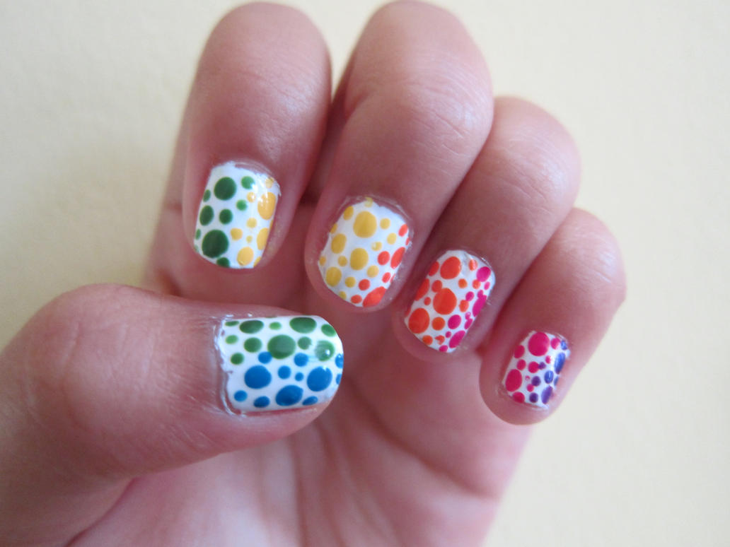 Rainbow Ombre Nails Rainbow Polka Dot Ombre Nails