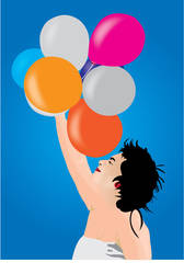 flying baloons vector by cashmelek