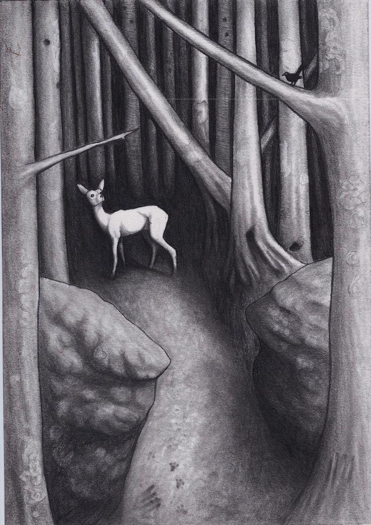 Deer in dark forest by kingacer