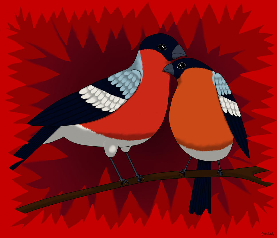 Bullfinch Couple by FrancistheDragon