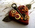 Copper Steampunk Heart Pendant