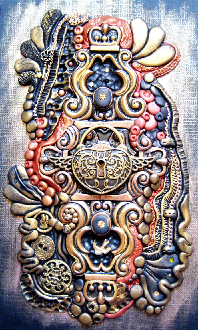 Steampunk Heart Lock Polymer Clay Journal by RoyalKitness