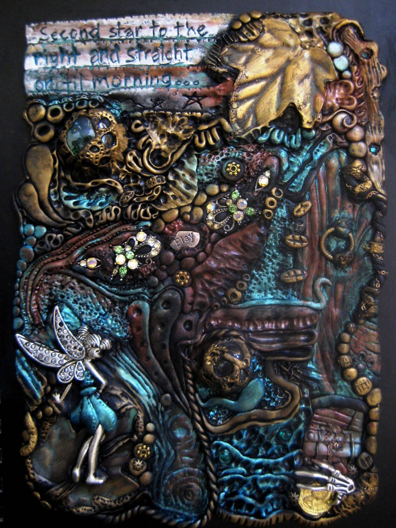 Neverland Inspired Polymer Clay Journal Cover by RoyalKitness