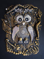 Owl Notebook Cover - Gold and Silver, Polymer Clay by RoyalKitness