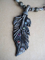Polymer Clay Silver Feather Pendant by RoyalKitness