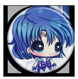 Sailor Mercury Chibi and Cute Pin Button by Usagichan-odango