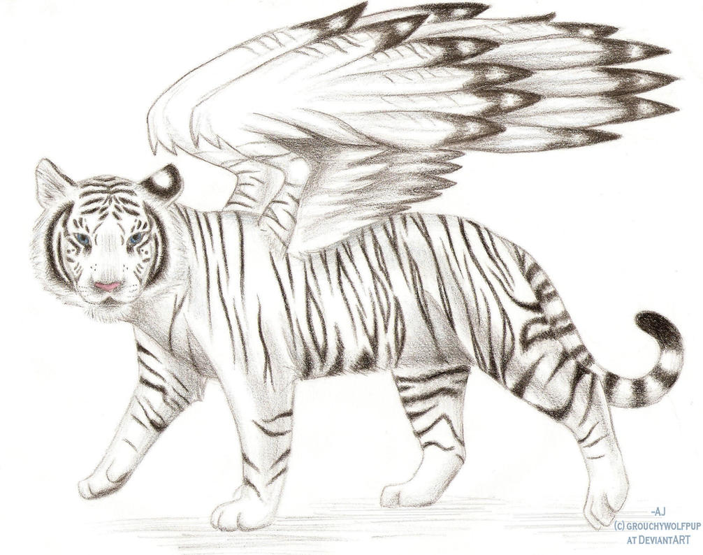 Winged white tiger by grouchywolfpup on deviantart for White tiger coloring pages