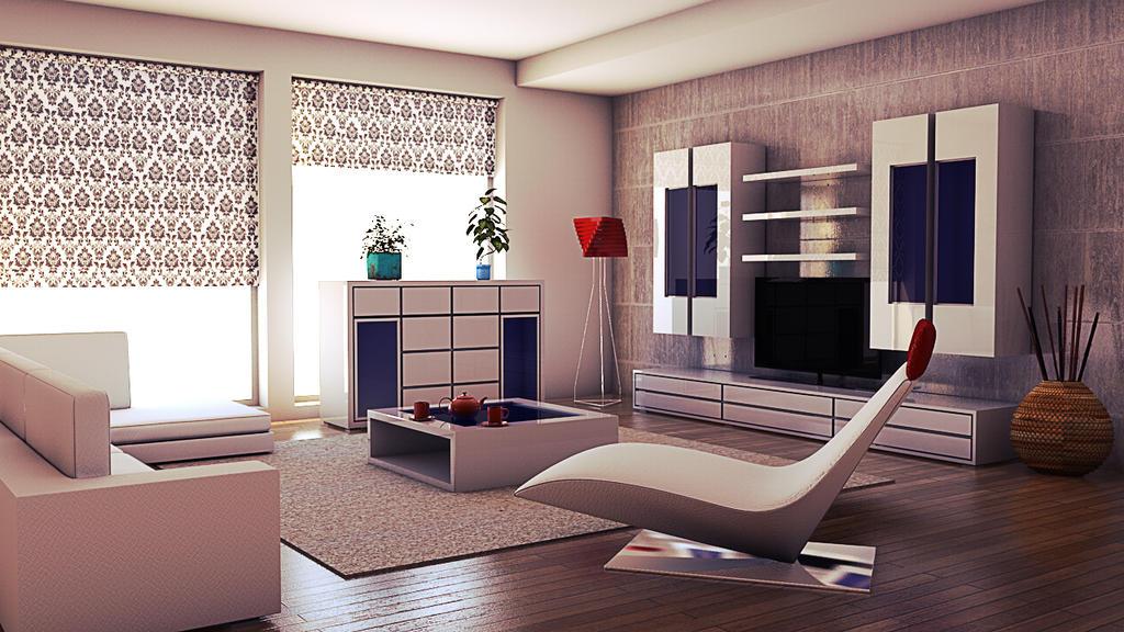 C4D Living Room test render by bestiafoto