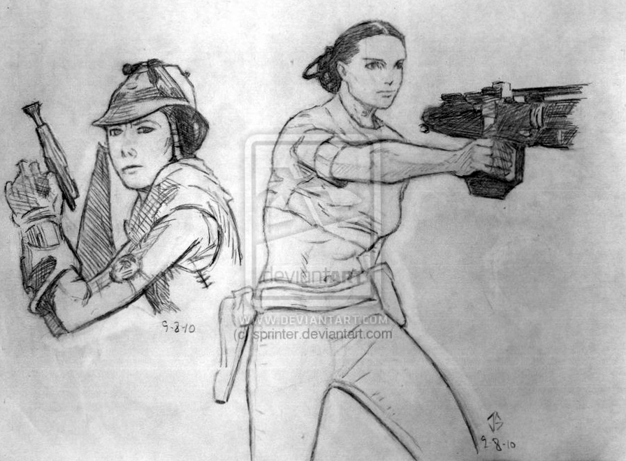 Sketchpad: Zam and Padme' by JasonShoemaker