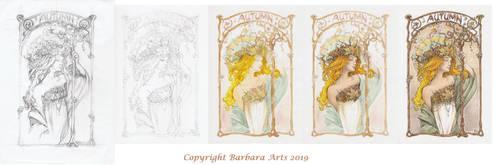 Art Nouveau Group contest 2018 Autumn WIP by Ejderha-Arts