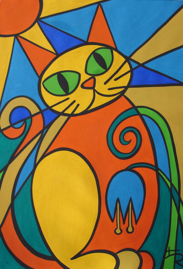 stained glass cat by essencestudios