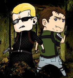 Chibi Wesker and Chris by okihegaK