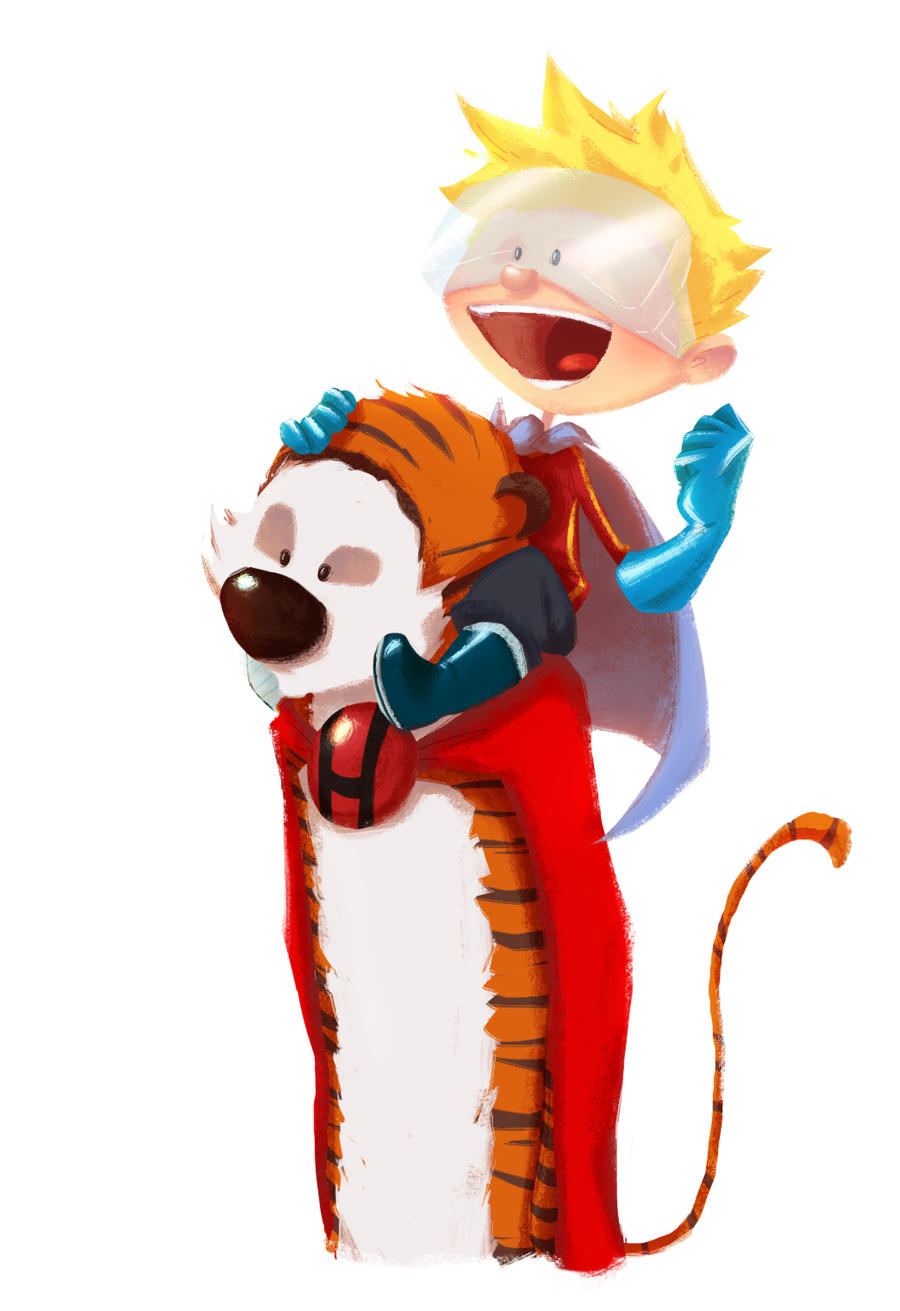 Hero-Hobbes and the Calvin-Kid by Andry-Shango