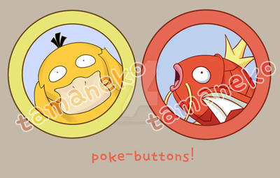[buttons] psyduck, magikarp by tamaneko-i-b
