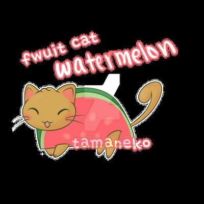 [Adoptable] Fwuit Cat - Watermelon (closed) by tamaneko-i-b