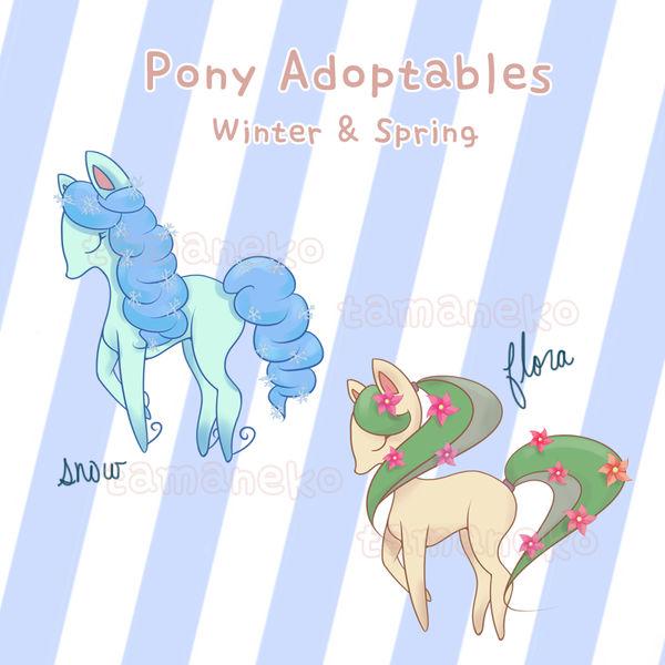 [Adoptable] Winter/Spring Pony (2/2 open) by tamaneko-i-b