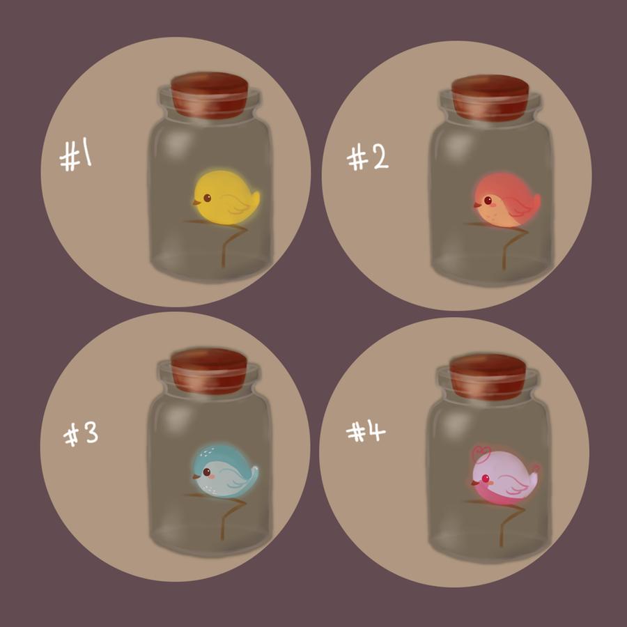 [Adoptables] Bottle Birdies [CLOSED] by tamaneko-i-b
