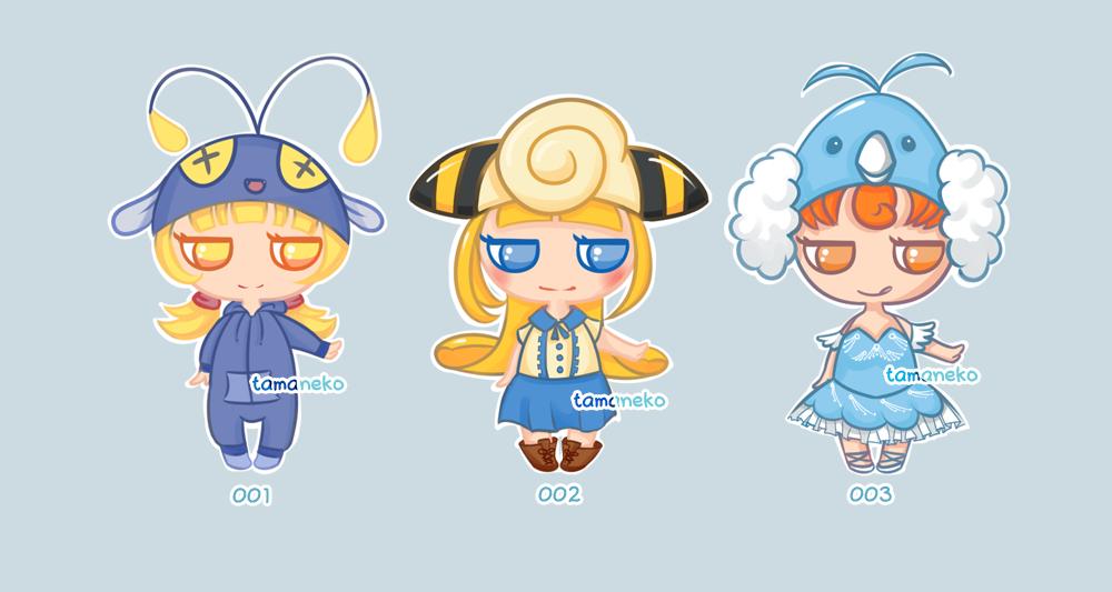 [Adoptables] Minipeeps Pokemon Gijinka [3/3 OPEN] by tamaneko-i-b