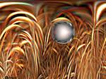 Alien Sphere On Cornfield