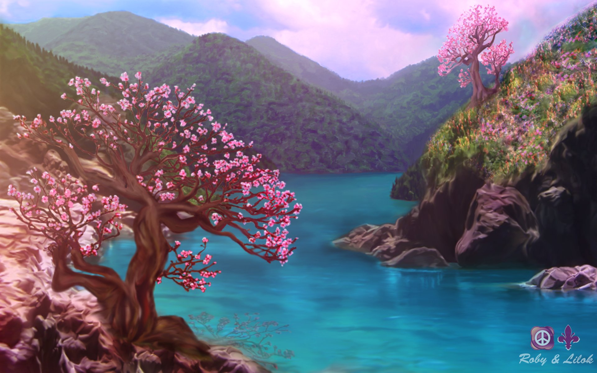 cherry blossom lake hd wallpaper