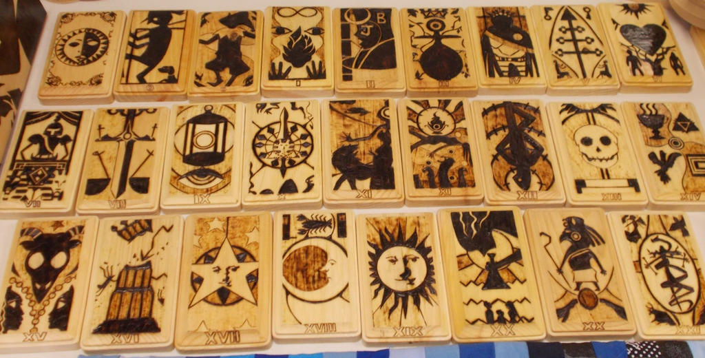 Persona woodburned tarot set by cutiechibi