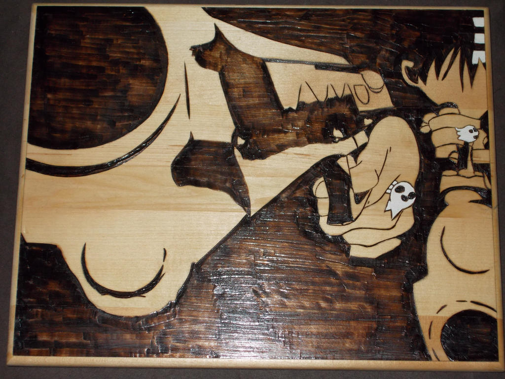 Death the Kid taking aim woodburning by cutiechibi