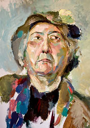 Old woman in a hat by igrika